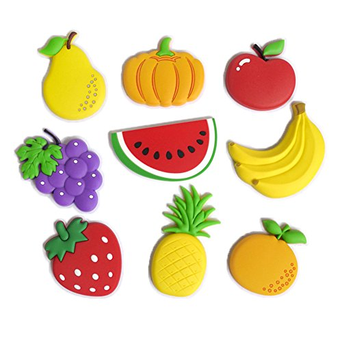 Bright Fruit (NOCOLA Cute Cartoon Fruits Stereo Fridge Magnets for Kids Activity Home Decoration a Set of 9 Pieces)