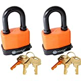 Centurion WPP Laminated Waterproof Padlock, Wide Body - Weather Resistant Outdoor Padlock, 3 Keys Included (50mm Set of 2)