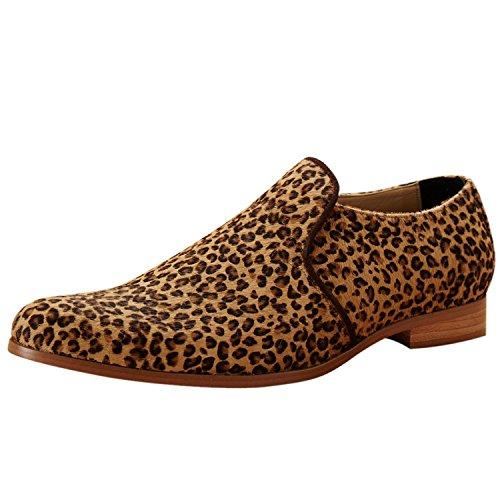 iTailor Men's Leopard Print Leather Slip On Shoes Brown U...