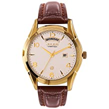 JULIUS Limited Edition JAL-034C Men's Arabic Numbers Quartz Analog Calendar Watch with Brown Leather Band