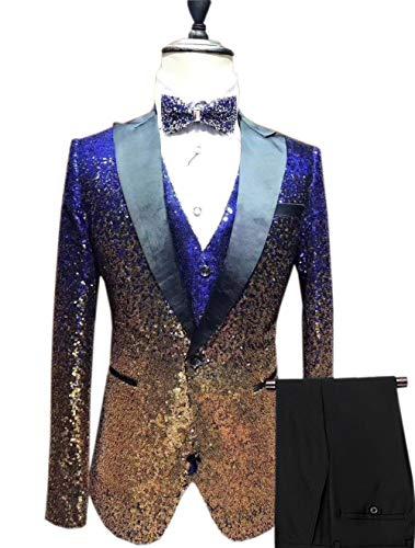 Vincent Bridal Men's Suits 3 Pieces Slim Fit Shiny Gradually Changing Color Mens Suit One Button Groom Tuxedo(38 Regular,Royal Blue-Gold)