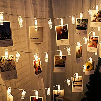 Amazon Com Superdecor 40 Led Christmas Photo Clips Lights Battery Operated String Lights Patio Lights For Outdoor Indoor Xmas Bedroom Party College Dorm Room Ideal Gift Warm White 16 4 Feet Warm White