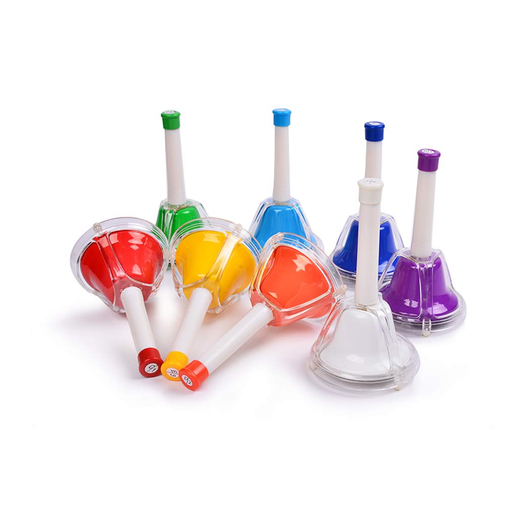 WELINK Colorful 8 Note Diatonic Metal Hand Bells Set Desk Bell with Plastic Cover Musical Instrument Educational Learning Percussion Toy for Kids Toddlers Children by WELINK
