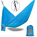 BOS Portable Double Camping Hammock - Lightweight Polyester Hammock for Outdoor Backpacking, Hiking, Travel, Beach, Patio, Yard, 2 Person Travel Hammock. 108''(L) x 55''(W) - Royal Blue