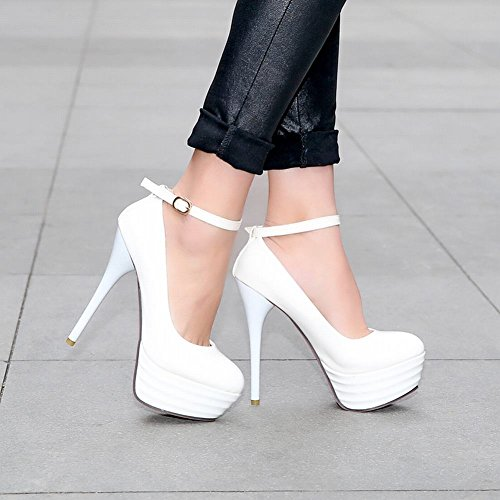 Mee Shoes Sexy Super High-heel Patent Leather Platform Court Shoes White 9EKp3