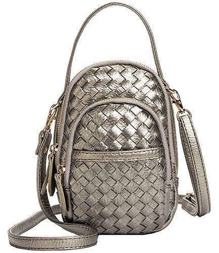 Women's 3 Layers Small Crossbody Purse,Braided Vegan Leather Cellphone Crossbody Bag Pouch Smartphone Wallet for Girls (Silver Gray)