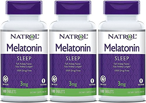 Natrol Melatonin Timed Release Tablets, 3mg 100 Count (Pack of 3) Packaging May -