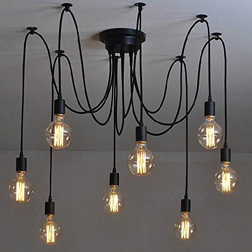 NAVIMC Black Vintage Industrial Pendant Light Fixtures Home Ceiling Light  Chandeliers Lighting,Edsion Style (8 Lampholders)