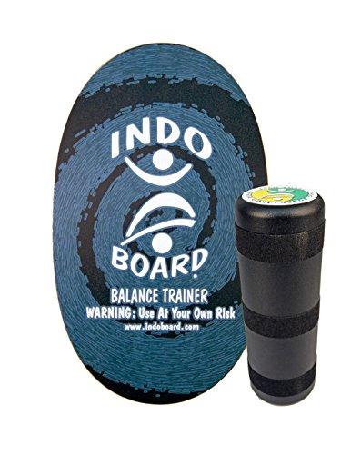 """INDO BOARD Original Balance Board with 6.5"""" Roller and 30"""" X 18"""" Non-Slip Deck – Blue Swirl Design"""