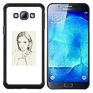 Retrato de la mujer blanca Depresión Sad- Metal de aluminio y de plástico duro Caja del teléfono - Negro - Samsung Galaxy A8 / SM-A800