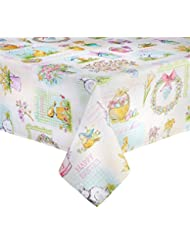 Wonderful Happy Easter Bunny Eggs Print Fabric Tablecloth (52 X 70)