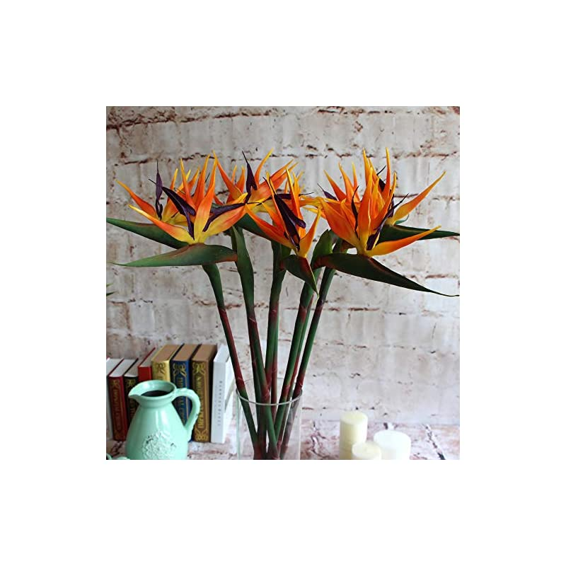 silk flower arrangements warmter 32.5 inch large elegant bird of paradise artificial flower for home office 3 pcs (yellow)