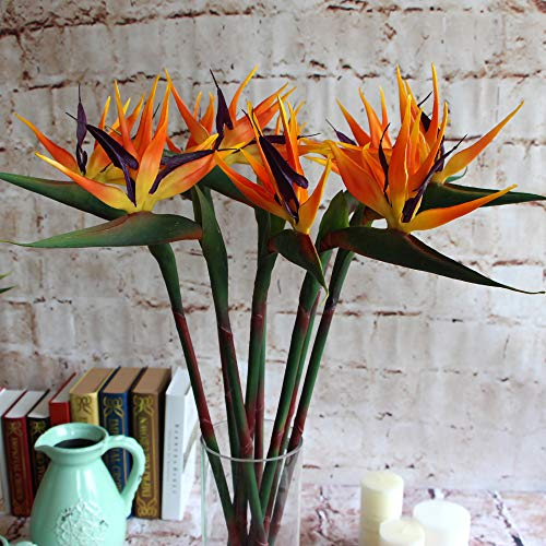 Warmter 32.5 Inch Large Elegant Bird of Paradise Artificial Flower for Home Office 3 Pcs ()