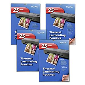4 Pack - Nuova 5 Mil Thermal Laminating Pouches 5 x 7-Inches, Photo Size, 25-Sheet