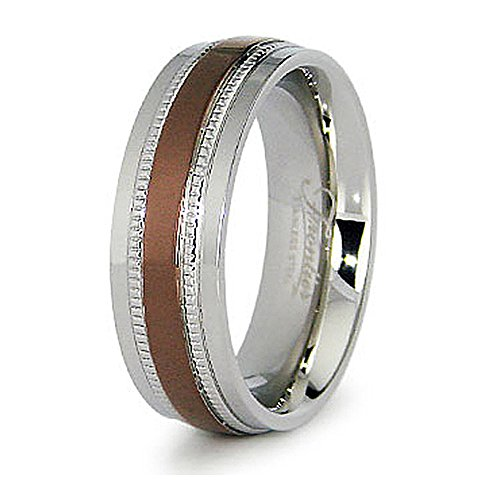 Espresso Plated Center - West Coast Jewelry 7.5mm Stainless Steel Men's Ring with Espresso Plated Center - Size 8