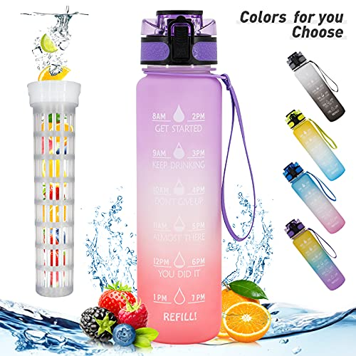 RioRand Drinking Water Bottle 32 oz Fruit Filter Infuser Water Bottles with Straw and Motivational Time Marker BPA Free Reusable Sports Outdoor Portable Water Bottle for Daily life(Purple+Orange)