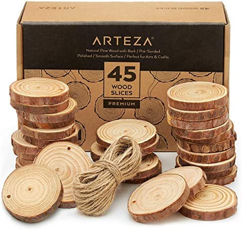 """ARTEZA Wood Slices (45 Pieces) with Bark Natural Unfinished Pine 2.4""""-2.8"""" Diameter Smooth Beautiful Sanded Surface Includes 50' of Natural Jute Twine for Arts, Crafts, Weddings, Ornaments, DIY"""