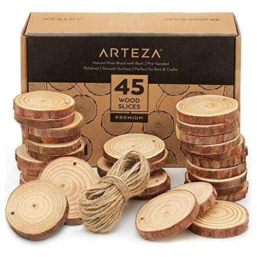 Smooth Slices - ARTEZA Wood Slices (45 Pieces) with Bark Natural Unfinished Pine 2.4