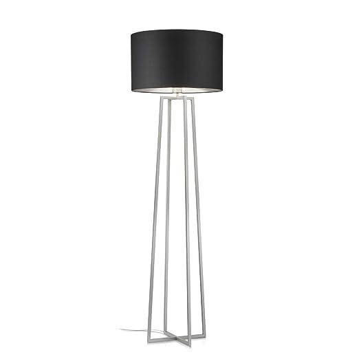Lámpara de pie, níquel mate, pantalla: negro, interior ...