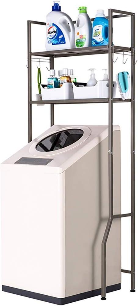 Machine shelf Lavado de suelo de acero al carbono bastidor de la máquina de almacenamiento, baño rodillo tirón rack Lavadora, Tendedero balcón de almacenamiento, doble piso, 68 * 29 * 162cm estante de
