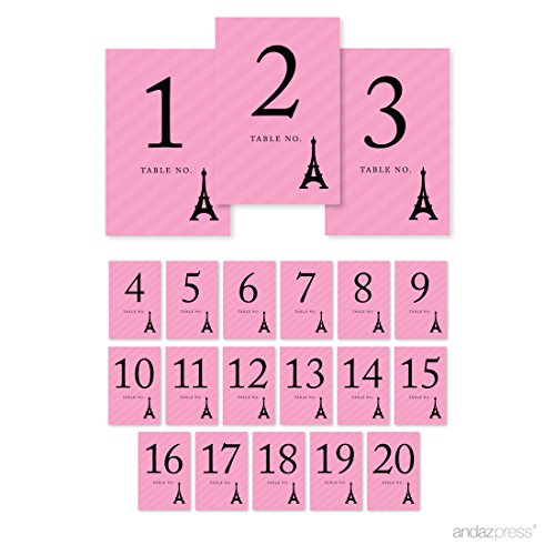 Andaz Press Paris Bonjour Bebe Girl Baby Shower Collection, Table Numbers 1 - 20 on Perforated Paper, 1-Set, Parisian French Themed Table Settings, Decor, Decorations