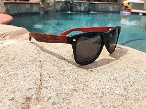 WoodofArt Wood Polarized Sunglasses For Men And Women Wayfarer Shades With Wooden Case (Black, Grey)