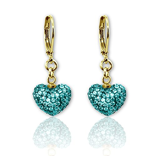 Crystal Heart Dangle Earrings Girls Jewelry Sets Christmas Jewelry for Girls 18k Gold Plated Best Christmas Gifts