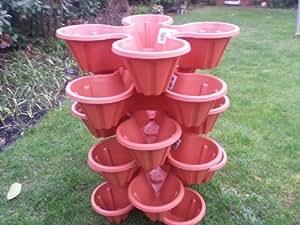 Jardineras extra grandes apilables, juego de 6 jardineras de 4 macetas cada una, para flores, hierbas, fresas.