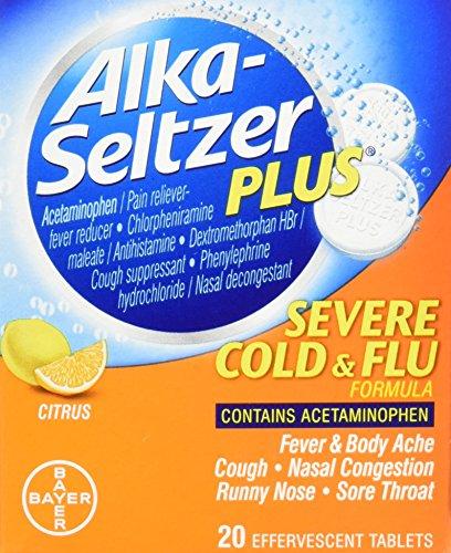 Alka-Seltzer Plus Severe Cold & Flu Medicine, Citrus Effervescent Tablets With Pain Reliever/Fever Reducer, Citrus, 20 (Flu Tabs)