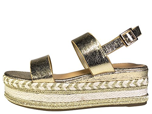 Single Platform Band BAMBOO with Sandal Women's Strap Espadrilles Gold Ankle Zx6wwnSq