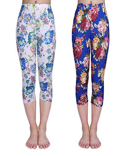 IRELIA 2 Pack Girls Leggings Capri Print Pant for School/Holiday 04 XL ()