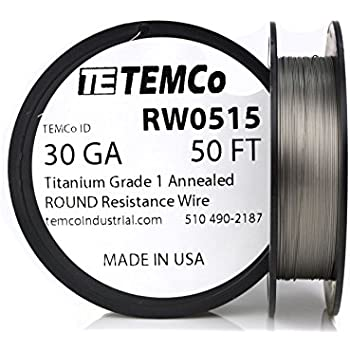 TEMCo Titanium Wire 24 Gauge 50 FT Surgical Grade 1 Resistance AWG ...