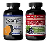 Product review for immune extract - GRAY HAIR - RESVERATROL 1200 - resveratrol bulk supplements - (2 Bottles Combo)