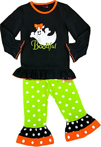 Angeline Girls Halloween Bootiful Green Dots Legging Set 5T/XL ()