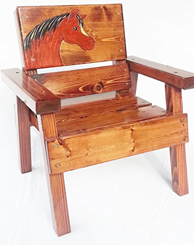 Kids Painted Wood Chair, Indoor / Outdoor, Engraved Sable Horse Design