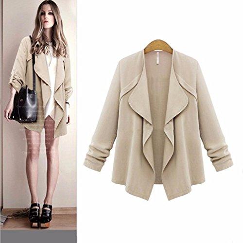 Outwear Colore lunga Top Hiroo Donna Khaki e Cardigans Elegante Allentato Manica Primavera trench Autunno coat solido Cappotto coat UxRaqF
