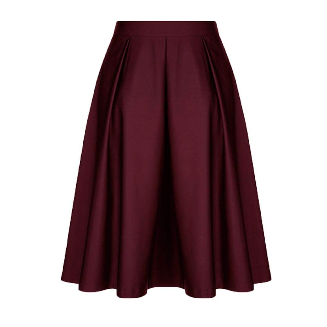 Women Vintage Solid Princess Skirt-Ruffled Cocktail Party A-line Swing Skirt