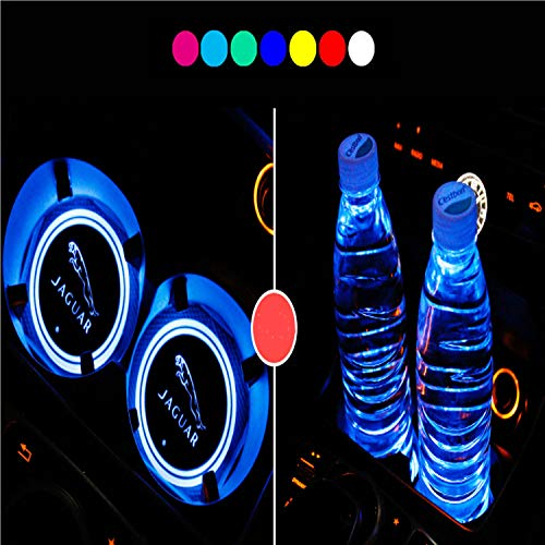 Lntly LED Car Logo Cup Holder Pad Waterproof Bottle Drinks Coaster Built-in Light 7 Colors Changing USB Charging Mat LED Cup Mat Car Atmosphere Lamp 2PCS for Jaguar Accessories