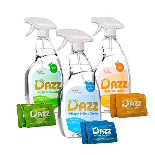 DAZZ Cleaning Tablets Whole House Starter Kit - All Purpose Surface Cleaner for Bathroom, Kitchen, Counters - Concentrated Tablets for Re-Use of Bottles - Just Add Water - All Natural and Safe