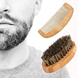 Beard Brush and Comb Set, Makeupstore 2019 Boar Bristle Beard Brush and Beard Comb Set - For Men Beard and Mustache, Thick & Thin Teeth Sandal Wood Comb