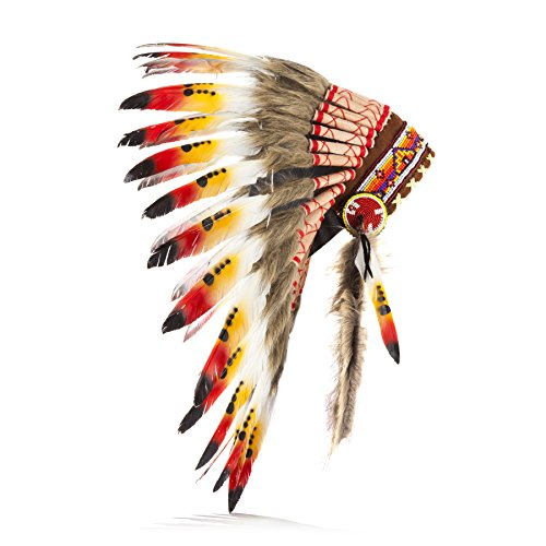 Boho Basics Native American Indian Inspired Feather Headdress Orange Red & White (Length: Small) (Balinese Hat)