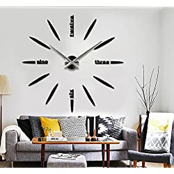 Alrens_DIY(TM)Luxury Personalized English Letters Design Modern DIY Frameless 3D Big Mirror Surface Effect Wall Clock Watches Living Room Bedroom Office Décor Decoration Self-adhesive Decor Wall Sticker Creative Art Decal (MQ-007-Black)