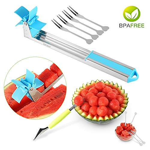 (Watermelon Slicer Original Watermelon Windmill Cutter Cantaloupe Melon Cube Fruit Slicer Fruit Knives with 4 free Fruit Forks & 1 Spoon(Blue))