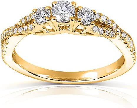 Kobelli Round-cut Three-Stone Braided Diamond Ring 2/5 Carat (ctw) in 14k Yellow Gold