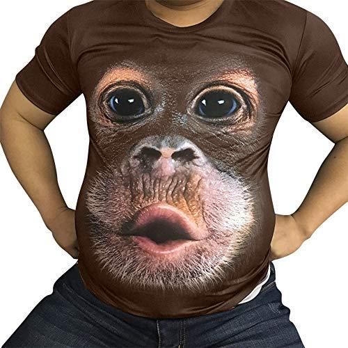 Balakie Mens Funny 3D Orangutan Face Print T-Shirt O-Neck Party Tops(Coffee,L)