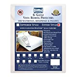 Bargoose | Fitted Mattress Cover | Vinyl Bed Protector | Guards Against Pests & Liquids | Allergen & Dust Mite Barrier | Hypoallergenic | White (Queen, 16' Deep)
