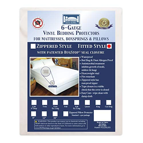 Bargoose | Fitted Mattress Cover | Vinyl Bed Protector | Guards Against Pests & Liquids | Allergen & Dust Mite Barrier | Hypoallergenic | White (Twin-XL, 9