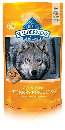 - Blue Buffalo Wilderness Trail Treats Grain Free Crunchy Dog Treats Biscuits, Turkey Recipe 10-oz bag