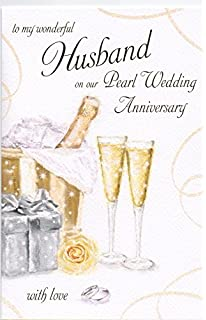 To My Wonderful Husband On Our 30th Pearl Wedding Anniversary Large Greeting Card GR025