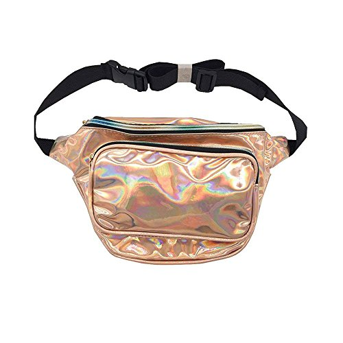 Pack Party for Leather Pouch Waist Waist Champagne Gold Waist Fanny Gold Bum Bag Women's Bag Shining Fashion Shopping Hiking Packs Belts Running PU Waist Purse Women Champagne Waterproof Houkiper 1x7Rq8w